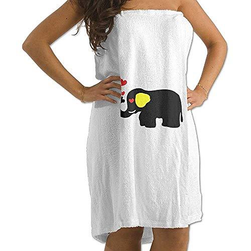 Edmun Albornoz de Toalla de baño para Mujer Suave Felpa Elefante Enamorado Albornoces de Estampado de Animales Salvajes de Safari (Talla única Blanca)