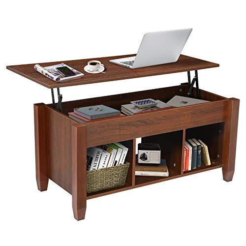 KINGSO Lift Top Coffee Table for Living Room with Hidden Storage Compartment 3 Divided Shelves Modern PopUp Wooden Storage Coffee Table Convertible Lift Tabletop Furniture, Brown