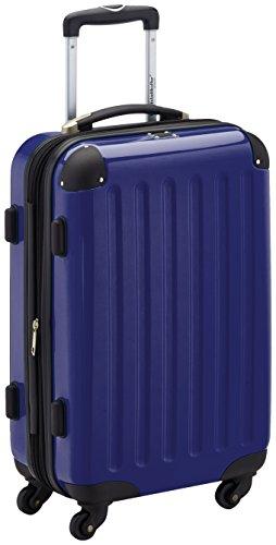 HAUPTSTADTKOFFER - Alex - Handgepäck Hartschalen-Koffer Trolley Rollkoffer Reisekoffer Erweiterbar, 4 Rollen, TSA, 55 cm, 42 Liter, Dunkelblau