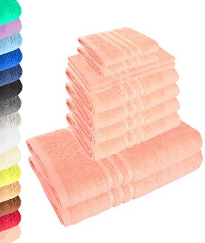 Lavea Juego de 10 toallas Elena rosa pastel, 4 toallas de mano, 2 toallas de ducha, 2 toallas de invitados, 2 manoplas de baño, 100% algodón