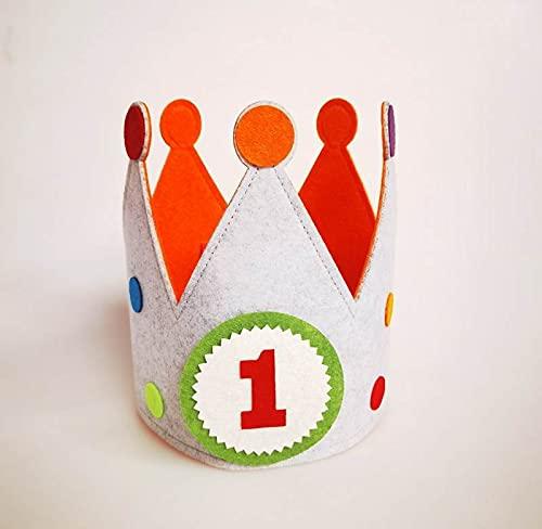 Pandiui23 Corona para cumpleaños, corona fiestas Infantiles, corona rey, corona muñecos con números del 1 al 9 (A)
