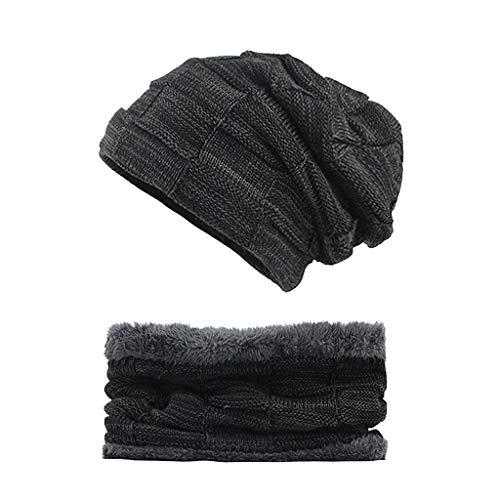 MMLC Herren Damen Beanie Mütze Scraf Set für den Winter, 2-teiliges warmes Strick-Slouchy-Totenkopf-Cap Baggy-Hip-Hop & Fleece-gefütterter Schal