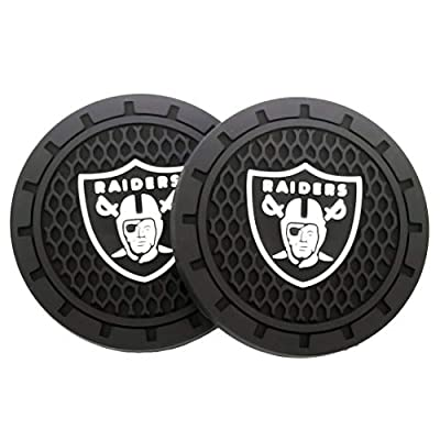JiangJing 2 Pcs 2.75 inch Car Interior Accessories Anti Slip Cup Mat American Football - Oakland Raiders