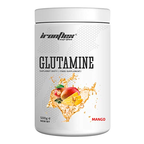 IronFlex Glutamine Package of 1 x 500g – L-Glutamine Amino Acid with Vitamin B6 (Mango)