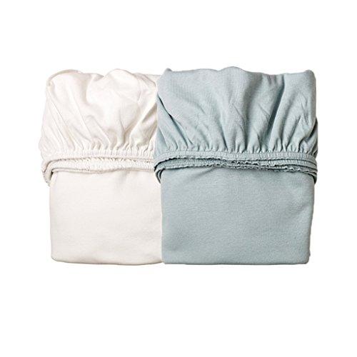 Leander 2er-Pack Laken Spannbetttücher Babywiege, Farbe: 1x Misty Blue + 1x weiß