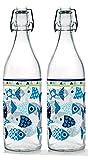 Baroni Home Juego de 2 botellas de agua de cristal de mesa decoradas con tapón hermético Piscitos Made in Italy capacidad 1 l