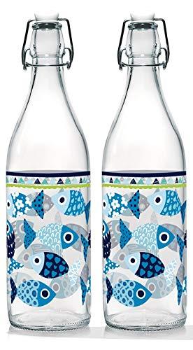 Baroni Home Set di 2 Bottiglie Acqua di Vetro da tavola Decorata con Tappo ermetico Pesciolini Made in Italy capienza 1l