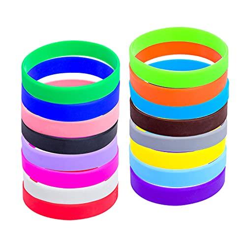 Paquete de 48 pulseras de silicona de goma para equipos deportivos, juegos, recuerdos de fiesta, eventos, marcadores de taza (16 colores mezclados, jóvenes/7 pulgadas)