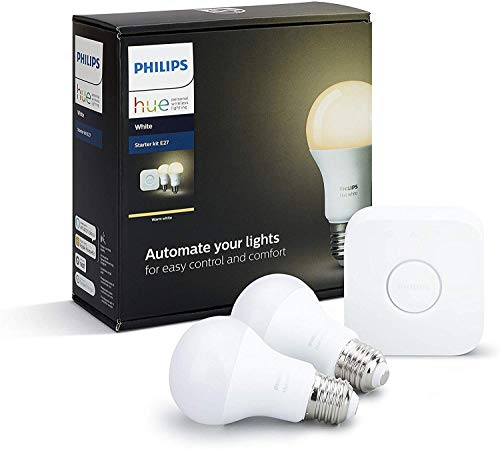Philips Hue White E27 LED-lamp, startersset, twee lampen incl. bridge, dimbaar, warm wit licht, bestuurbaar via app, compatibel met Amazon Alexa (Echo, Echo Dot)