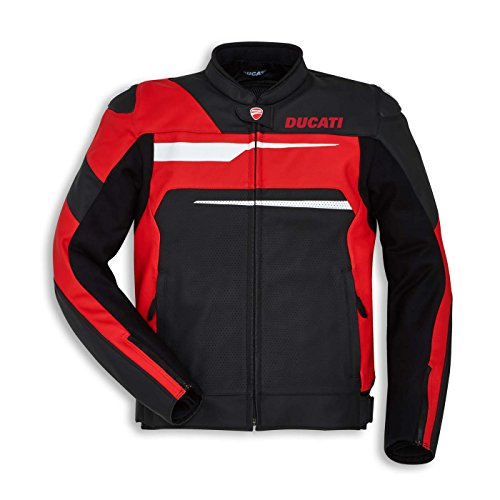 Ducati Speed Evo C1 Perforated Leather Motorcycle Jacket (54, Black/Red)