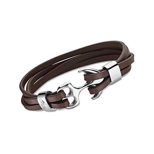Lotus Style Leder Armband LS1974-2/2 Herren Anker Riemen braun D2JLS1974-2-2 EIN schönes Geschenk zu Weihnachten, Geburtstag, Valentinstag für den Mann