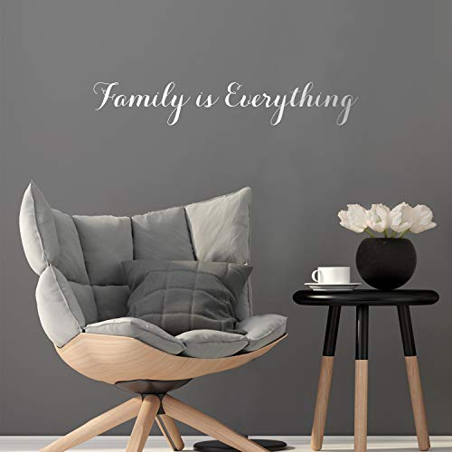 Vinyl Wall Art Decal - Family is Everything - 5' x 31' - Modern Cursive Love Quote for Couples Home Apartment Bedroom Living Room Dining Room Bathroom Indoor Outdoor Decor (5' x 31', White)