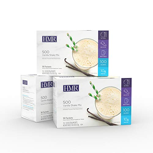 HMR 500 Vanilla Shake Meal Replacement Triple Pack, 10g Protein, 100 Cal, 3 Boxes of 18 Single-Serve Powder Packets