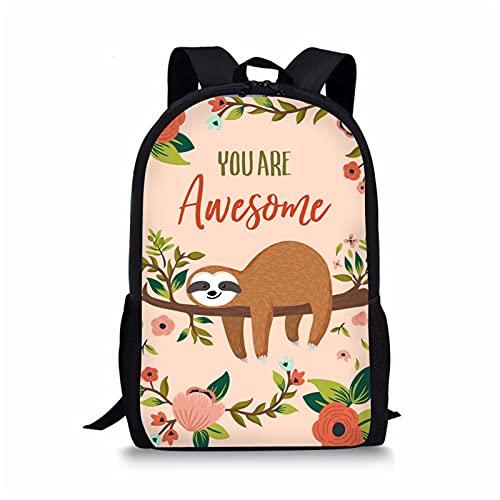 Kuiforti, zaino scolastico per bambini, per ragazzi e ragazze, 47,2 cm, Fantastico bradipo, Taglia unica