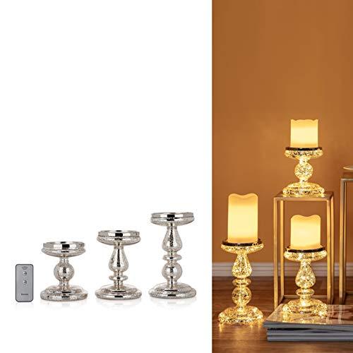 DbKW (Silber/3) 3er Set Kerzenständer/Kerzenhalter mit LED-Beleuchtung und Timer. Wählbar in Gold oder Silber, Geeignet für Stumpenkerzen…