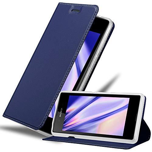 Cadorabo Hülle für Sony Xperia E3 - Hülle in DUNKEL BLAU – Handyhülle mit Standfunktion & Kartenfach im Metallic Erscheinungsbild - Hülle Cover Schutzhülle Etui Tasche Book Klapp Style