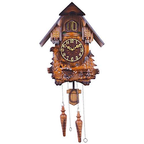 BCBKD Reloj De Cuco De Madera, Antiguo Reloj De Cuco Alemán De La Selva Negra Reloj De Pared Decorativo De Madera Maciza con Función De Péndulo Y Eco para La Decoración del Hogar, 76X33.5X18cm