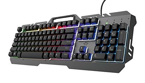 Trust Gaming Tastatur aus Metall mit Regenbogen-LED GXT 853 Esca - Beleuchtete Tastatur mit Deutsches QWERTZ Layout, USB Plug & Play, PC/Laptop