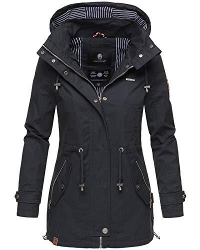 Marikoo Damen Jacke Frühling Übergangsjacke leicht Parka Mantel Kapuze B690 [B690-Nyok-Navy-Gr.S]