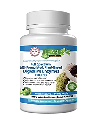 LEAN Nutraceuticals MD Certified Digestive Enzyme Supplements Plant Based Pancreatic Enzymes for Digestion, Lipase, Protease, Fat - 13 Food Enzymes for Women, Ultra IBS Solution Bloating 90 Caps