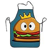 Eastlif Delantal con Babero antisucio Ajustable Novedad de Burger King para Delantal de Cocina para cocinar, Hornear, jardinería, Fiestas