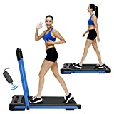 Nattork 2 in 1 Folding Treadmill for Home, Under Desk Portable Pad Treadmills,with Remote Control and LED Display,Running Walking Jogging Machine for Home Office Use, Installation-Free (Blue)