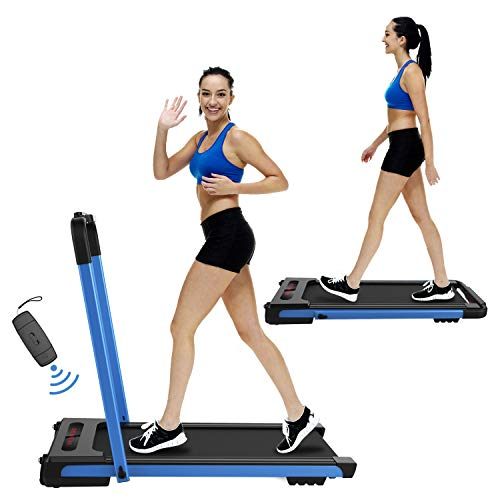 Nattork 2 in 1 Folding Treadmill for Home, Under Desk Portable Pad Treadmills,with Remote Control and LED Display,2.25HP Running Walking Jogging Machine for Home Office Use, Installation-Free (Blue)
