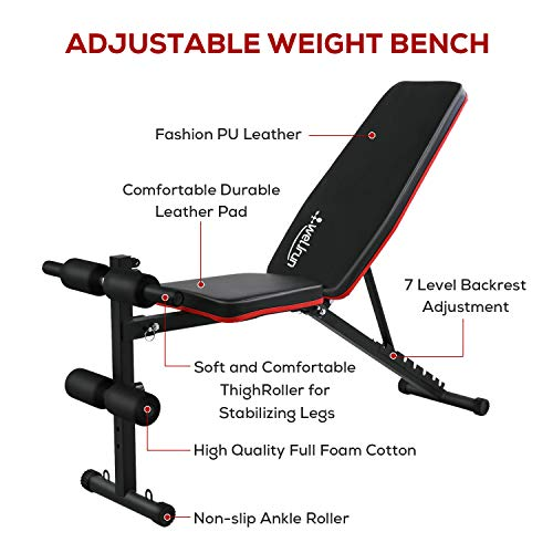 Weight Bench Adjustable, Workout Bench Press, Foldable Incline Decline Sit Up Exercise bench, Flat Strength Training Benches for Home Gym with Resistance Bands
