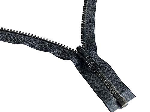ZipperStop Wholesale YKK - Vislon Jacket Zipper Reversible Slide YKK #5 Molded Plastic Separating End - Color Blck Custom Length (22 Inches)