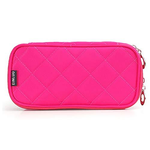 Mini sac cosmétique portable en nylon imperméable à l'eau multi-fonction demi-ouverte à deux couches grande capacité voyage Make Up Bag,3
