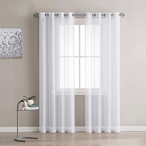 Lot de 2 Rideaux Voilages Blanc, Panneaux de Fenêtres Voile de Fenêtre avec Solide à Oeillets pour Salon Chambre Décoration, 140 cm x 245 cm