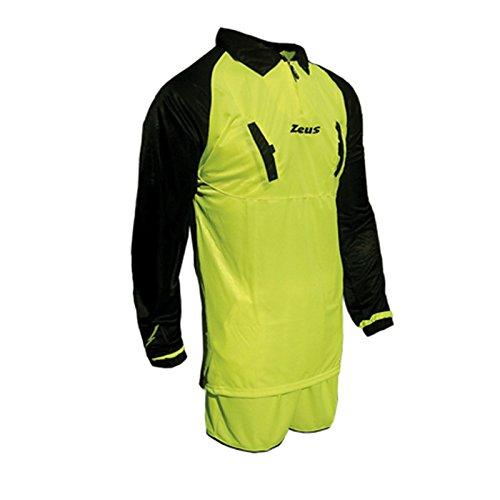 Zeus, Maglia + Pantaloncino Calcio Kit Arbitro Eko, Colore: Giallo Fluo-Nero, Taglia: XXL