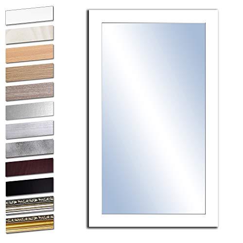 Bilderdepot24 Wandspiegel Spiegel Badspiegel Holzrahmen komplett mit Echtglas - WEIß - ca. 100x50 cm