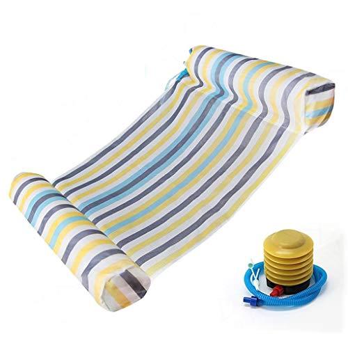 Time Wasser Hammock, Schwimmbecken Schwimm Hammock Schlauchboot Pool Lounger Air Leichte Schwimm Stuhl for Erwachsene/Kinder - mit Luftpumpe (Farbe : Blau)