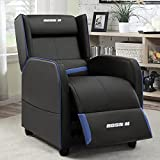 BOSSIN Gaming Recliner Chair Single Recliner Sofa PU Leather Recliner Seating Sofa Ergonomic Lounge Recliner Chair Home Movie Theater Seating Sofa for Living Room(Blue)