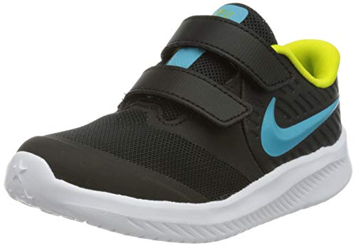 Nike Jungen Unisex Kinder Star Runner 2 Running Shoe, Black/Chlorine Blue-High Voltage-White, 27 EU