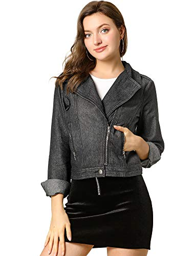 Allegra K Women's Asymmetrical Denim Jacket Moto Crop Lapel Zipper Zip Up Washed Jean Short Cropped Jacket Top Small Black