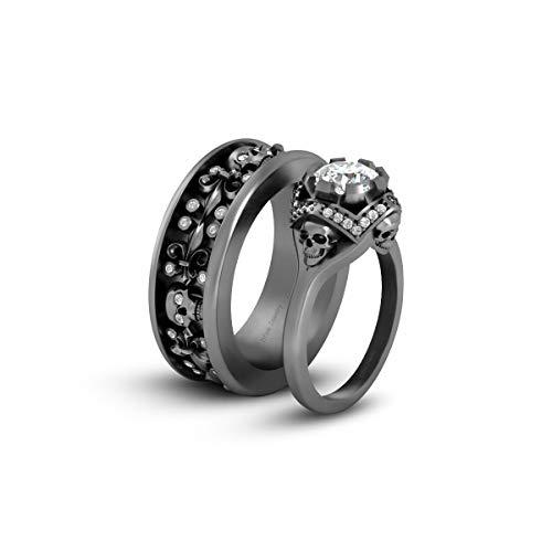 Anillo de compromiso con diseño de calavera gótica de flor de lis de diamante blanco de 1,65 TCW