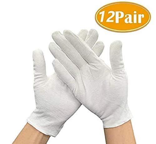 12 Paar Baumwollhandschuhe Weiß Stoffhandschuhe für Ekzeme, Trikothandschuhe zum Schutz der Hände, Größe M