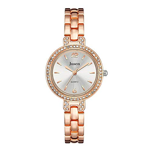 JZDH Women Watches Rose Gold Qualities Women Bracelet Watches Full Stainless Steel Fashion Crystal Watch Ladies Quartz Wristwatches Gifts Ladies Girls Casual Decorative Watches (Color : White)