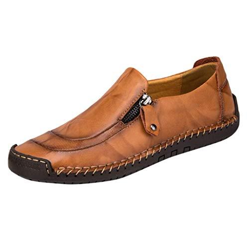 CixNy Herren Klassische Weiche Mokassin Leder Runde Zehen rutschfest Schuhe Loafers Wohnungen Fahren Seitlicher Reißverschluss Halbschuhe Rot Gelb Schwarz 38-48 (Gelb, 47)