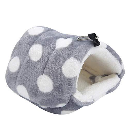 Pssopp Cama colgante para hámster de invierno cálida franela para hamster jaula nido hamaca casa para mascotas pequeñas ardilla azúcar planeador cobayas (punto grande gris) (punto grande gris)