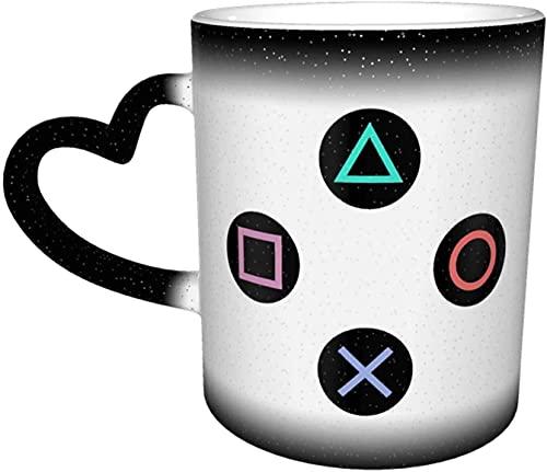 Tazas de café Juegue con los botones del controlador de Playstation Taza que cambia de color sensible al calor Taza de cerámica en el cielo Regalos personalizados para los amantes