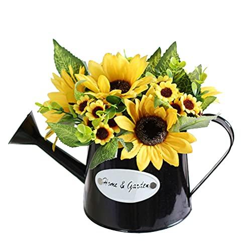 XHXSTORE Flores Artificiales con Macetas Girasoles Flor Amarilla Otoño para el Hogar...