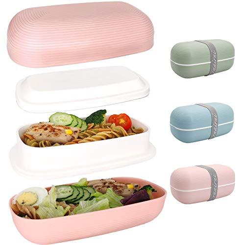 rnairni Bento Box Doppelte eiförmige Brotdose, Lunchbox mit 2 Deckel Fächern,lunchboxes hitzebeständiges PP in Lebensmittelqualität, 1000ml(Orange)