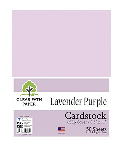 Lavender Purple Cardstock - 8.5 x 11 inch - 65Lb Cover - 50 Sheets - Clear Path Paper