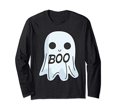 ¡Boo te veo! Disfraz de fantasma genial para Halloween Tee Manga Larga
