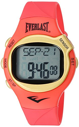 Everlast 'Heart Rate Monitor' Automatic Plastic and Rubber Fitness Watch, Color:Red (Model: EVWHR005G-CR)