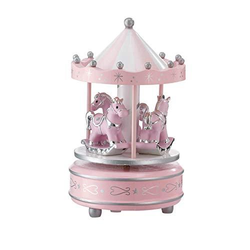 VALENTI & CO. - Giostrina e Carillon Musicale con Cavalli da Tavolo per Nascita Bambino con Dettagli in Argento