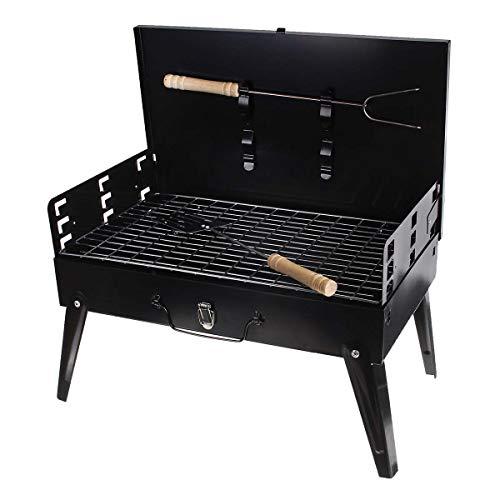 AINY Barbecue Grill, Tragbare Faltkohle Kohle Barbecue Schreibtisch Tischplatte Outdoor Edelstahl Raucher Grill Für Picknick Garten Terrasse Camping Reise